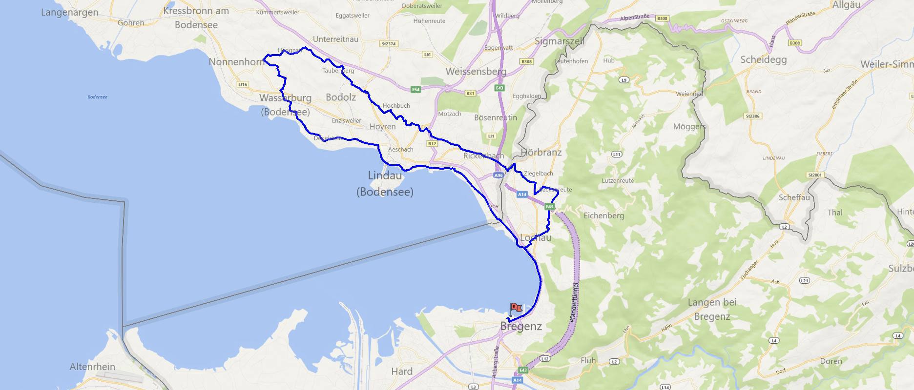 Streckenverlauf Laiblachtalrunde