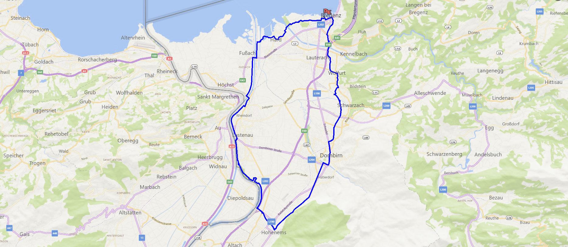 Streckenverlauf Rheintalrunde