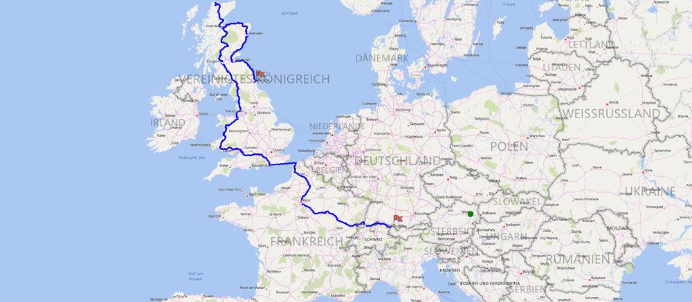 Streckenverlauf Route Vorarlberg nach Schottland